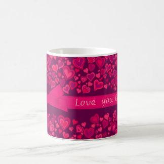 """""""Älska dig"""" för mauvenamn för hjärtor den röda Kaffemugg"""
