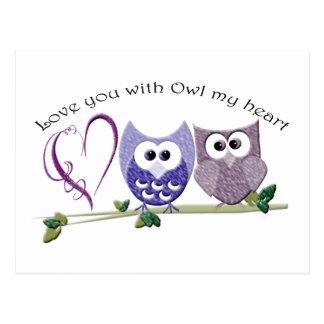 Älska dig med ugglan min hjärta, gullig ugglakonst vykort
