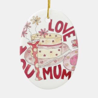 Älska dig morsan ovalformad julgransprydnad i keramik