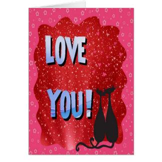 """""""Älska dig"""" och två lyckliga svarta katter Hälsningskort"""