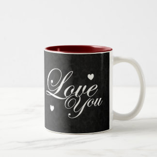 Älska dig textkonst Två-Tonad mugg
