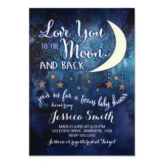 Älska dig till månen & dra tillbaka den tvilling- 12,7 x 17,8 cm inbjudningskort