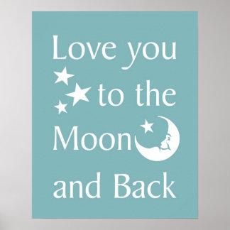 Älska dig till månen och dra tillbaka affischen posters