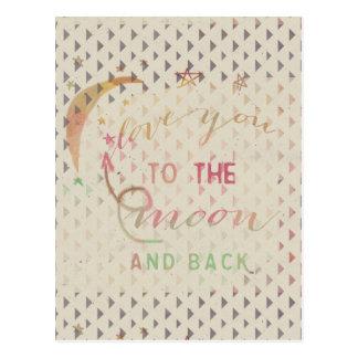 Älska dig till månen och dra tillbaka vykort