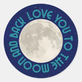 Älska dig till månen och tillbaka klistermärkear runt klistermärke