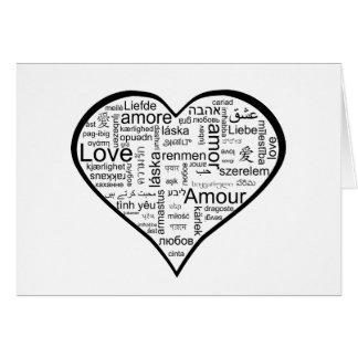 Älska i hjärta för många språk hälsningskort