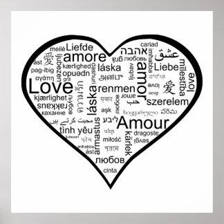 Älska i hjärta för många språk poster