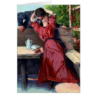 Älska kyssvalentinkortet hälsningskort