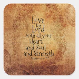 """""""Älska lorden"""" scripturen Matthew 22, vintage Fyrkantigt Klistermärke"""