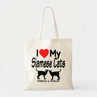 Älska min två Siamese katter Tygkasse