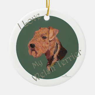 Älska min walesiska Terrier Julgransprydnad Keramik