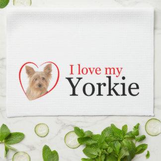Älska min Yorkie kökshandduk