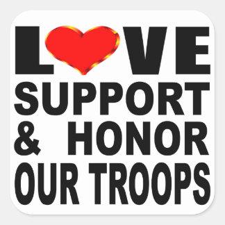Älska service och hedra våra soldater fyrkantigt klistermärke