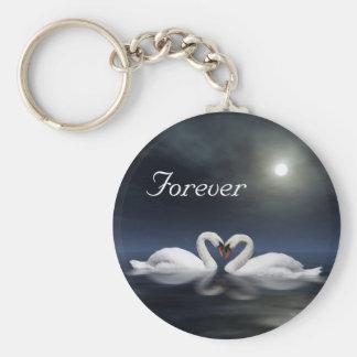 Älska svanar rund nyckelring