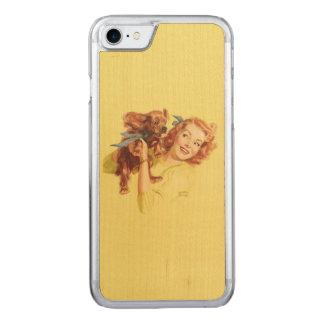 ÄLSKA VALPEN KLÄMMA FAST UPP slankt trä för Carved iPhone 7 Skal