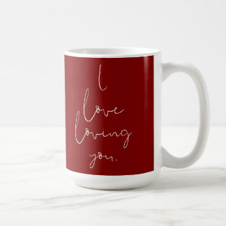 """""""Älskar jag att älska dig"""" handskriven vit på rött Vit Mugg"""