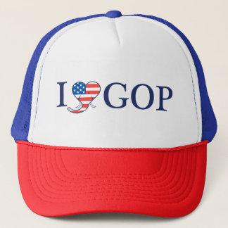 """""""Älskar jag röd GOP"""", vit & blåtttruckerkepsen Keps"""