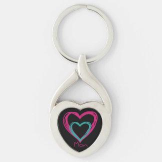 """""""Älskar jag vriden hjärtametall Keychain för Twisted Heart Silverfärgad Nyckelring"""