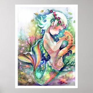 """""""Älskar sjöjungfrun henne den Seahorse"""" affischen Poster"""