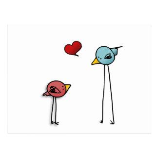 älskare för valentin för love birdshjärtatecknad vykort