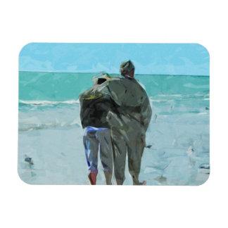 Älskareårsdagen går på strandabstrakten magnet