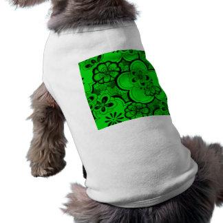 Älsklings- bekläda för Retro abstrakt blommasmarag Hundtröja