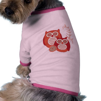 Älsklings- bekläda för Retro ugglor Hund Tee