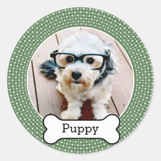 Älsklings- foto med hundben - grön polka dots runt klistermärke