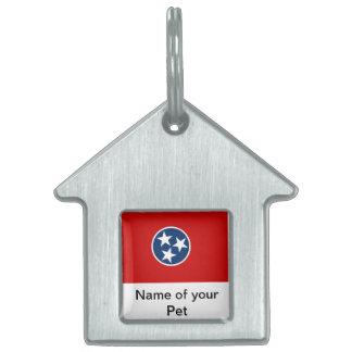Älsklings- märkre med den statliga flagga av namnbricka husdjur