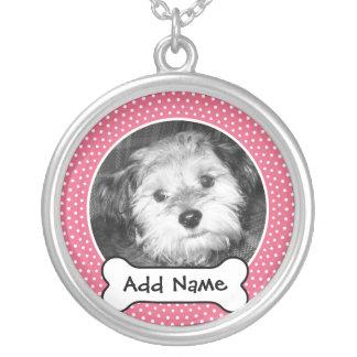 Älsklings- ram för hundfotomall silverpläterat halsband