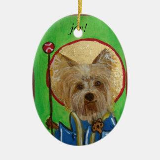 älsklings- symbolsterrier, glädje! julgransprydnad keramik