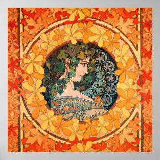 Älskvärd höstlig jungfru- affisch för art nouveau