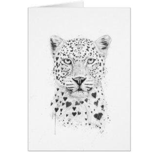 Älskvärd leopard hälsningskort
