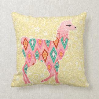 Älskvärd rosa Llama på gult - dekorativ kudde