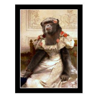 Älskvärd schimpans i kappa vykort