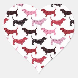 Älskvärda Bassets Hjärtformat Klistermärke