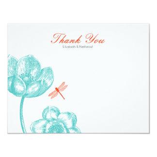 Älskvärda blått & orange för sländatackkortkort 10,8 x 14 cm inbjudningskort