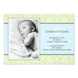 Älskvärt damastast pojkefödelsemeddelande 12,7 x 17,8 cm inbjudningskort