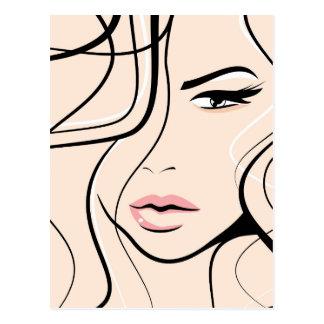 Älskvärt kvinnligt ansikte vykort