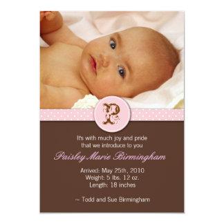 Älskvärt märka med sina initialer babymeddelandet 12,7 x 17,8 cm inbjudningskort