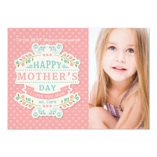 Älskvärt mors dagfotokort 12,7 x 17,8 cm inbjudningskort