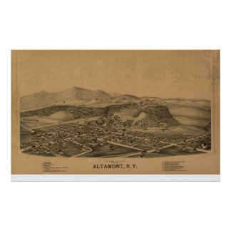 Altamont New York 1889 antika panorama- karta Poster