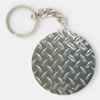 Aluminum metall Checkerplate Rund Nyckelring