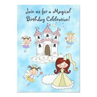 Älvor-, princess- och slottfödelsedaginbjudan 12,7 x 17,8 cm inbjudningskort