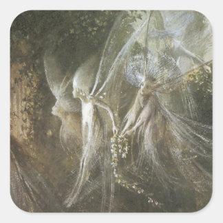 Älvor som tittar till och med en gotisk båge, 1864 fyrkantigt klistermärke