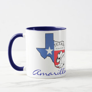 Amarillo Texas statlig karta med stjärnan, kängor, Mugg