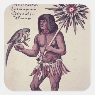 Amasonindier som inristas av Theodore de Bry Fyrkantigt Klistermärke