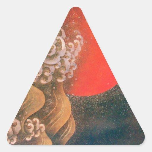 AMATERASU SOLGUDINNA, röd svartbrunt Triangelformat Klistermärke