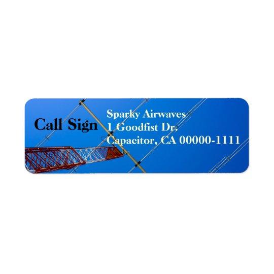 Amatören radiosände strålar antennen returadress etikett