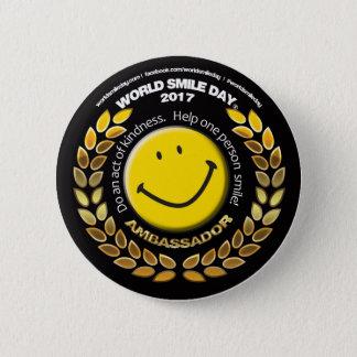 Ambassadör 2017 för världsleendedagen knäppas standard knapp rund 5.7 cm